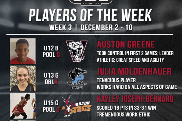 Congratulations to Auston, Julia, Kayley and Chloe on being selected as OBL Players of the Week.